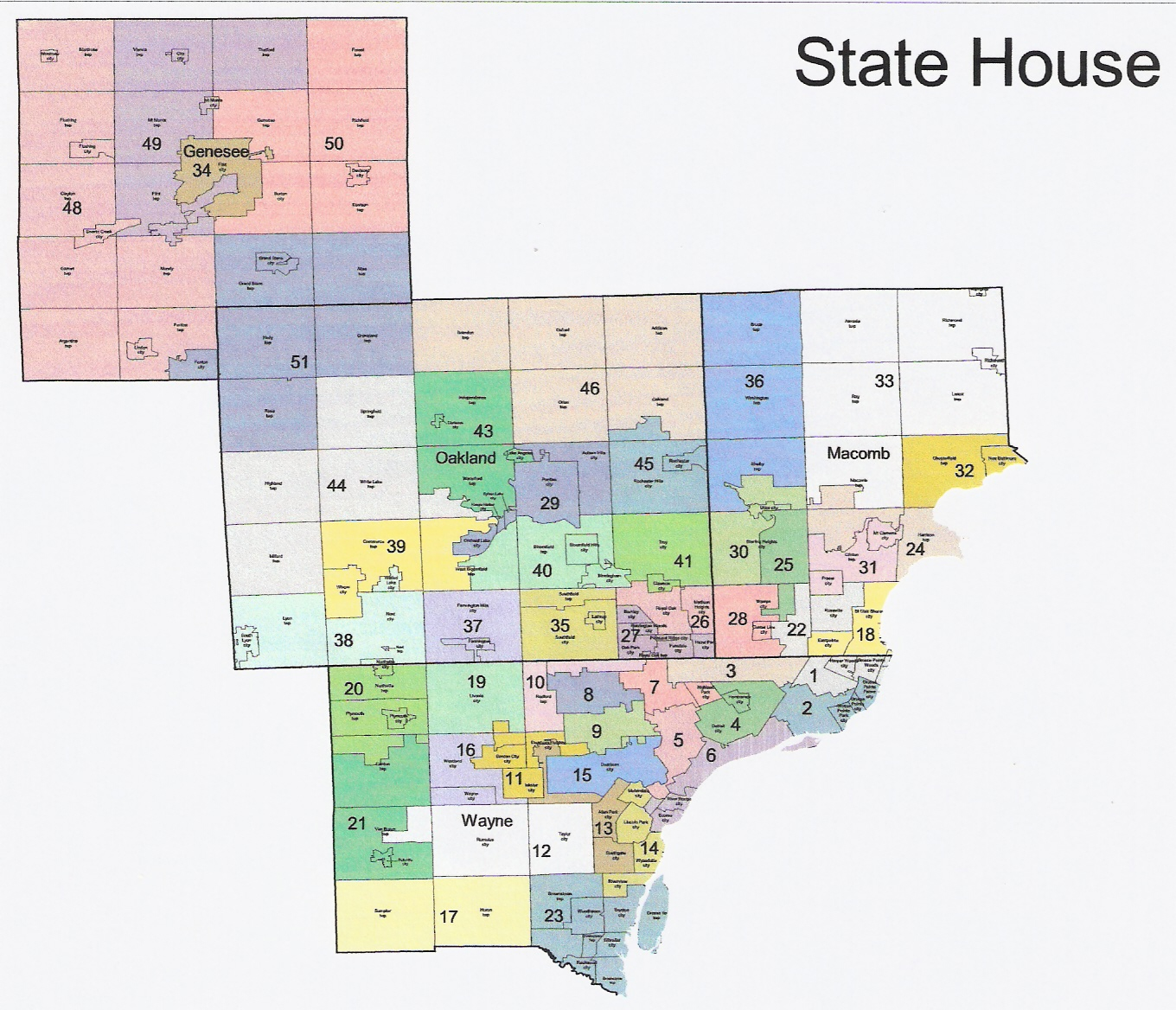 Rightmichigan michigan redistricting official republican michigan redistricting state house part i wayne county michigan redistricting state house part ii oakland and genesee freerunsca Image collections